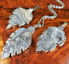 Druzy Necklace - Agate Leaf Crystal Cluster Pendant (E38) - Silver Plated