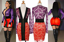 Celebrity Inspired Nicki Minaj Multicolor Colorblock Lace Dress S M L