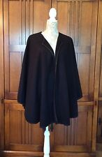 "Fleece Ruana Shawl Wrap Onesize Plus (18W-24W) Black 55 ""x72"" Topstitched"