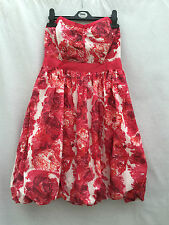 NEW LADIES RIVER ISLAND RED & WHITE STRAPLESS BUBBLE HEM DRESS SIZE 10 & 12