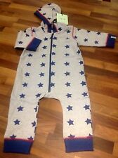 Baby boys playsuit hooded outerwear grey blue stars 12-18 mths