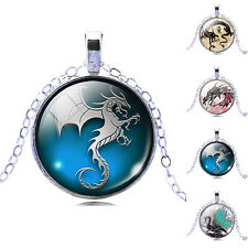 Cute Dragon Art Picture Glass Cabochon Pendant Necklace Women's Jewelry Gift New