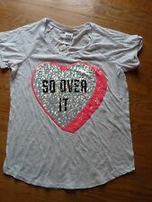 "VICTORIAS SECRET PINK BLING ""SO OVER IT"" HEART CUFFED SCOOPNECK TEESHIRT NWT"