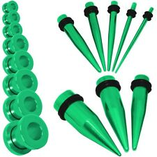 Set /1 Size Flesh Tunnel Ear Plug Stainless Steel Stretcher Expander Taper Green