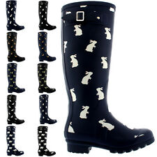 Ladies Animal Print Winter Waterproof Rubber Wellingtons Rain Boots All Sizes