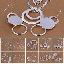 Hot Silver Plated Chain Bracelet Earring Ring Necklace 925 Sterling Jewelry Set