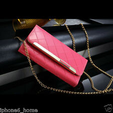 Patent Leather Bright Pink Clutch-Handbag Case +Chain For iPhone 6/6s & 6/6 Plus