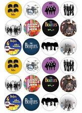 24 x THE BEATLES Edible Icing & Wafer / Rice Paper Cupcake & Fairy Cake Toppers