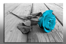 LARGE FRAMED CANVAS WALL ART LIGHT BLUE ROSE PICTURE BEAUTIFUL NEW PRINT FLOWER