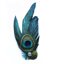 Women Special Elegant Peacock Feather Hair Clip Fascinator for Evenning Party