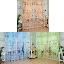 Floral Tulle Voile Door Window Curtain Drape Panel Sheer Scarf Valances MKLG