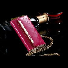 Patent Leather Hot Pink Clutch-Handbag Case +Chain For iPhone 6/6s & 6/6 Plus