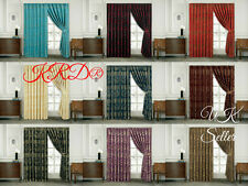 Premium Quality Heavy Jacquard Pair Of Pencil Pleat Window Curtains +2 Tie Backs