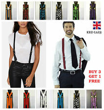 Unisex Adjustable Slim Trouser Suspenders Braces Clip On Fancy Dress Mens B3