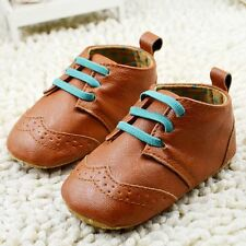 Baby Toddle Infant Boy Girl Brown Soft Sole crib Shoe Sneaker size 0-18 Months
