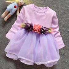 Girls Dresses Flower MeshTutu Party Pageant Princess Baby Kids Clothes 6-24M NWT