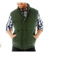 St Johns Bay mens vest solid puffer jacket polyester winter green size S NEW