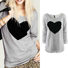 Blouse  Women Ladies  Love Heart Casual  Tops Long Sleeve T Shirt New  Loose