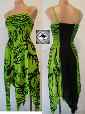Ladies Green Boho Hippy Dress. Witchy Hankerchief Hem. Celtic Tribal. Tie Dyed,