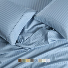 "650 Thread Count Striped Bed Sheets Set Cotton Blend 15"" Deep Pockets Sheets"