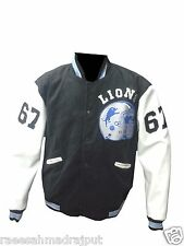 Beverly Hill Cop Detroit Lions Letterman Jacket - Wool  Leather Sleeves