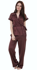 Ladies Short Sleeve Pyjamas Womens Red Tie Belt Satin PJ Set Nightwear