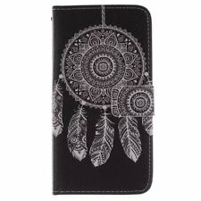 Black White Wind bell Chimes PU Leather Flip Wallet Case Cover for Cell Phones