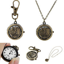 Alloy Creative Hollow Maple Leaf Pocket Watches Pendent Necklace Key Chain Watch