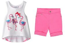 Hartstrings Perfect for the Beach Flamingo Graphic Tank and French Terry Short