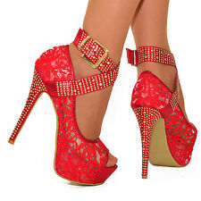 LADIES RED GOLD PLATFORM HIGH HEEL STUDDED ANKLE STRAPS PEEP TOE LACE SHOES
