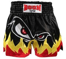 "BOON MUAY THAI KICKBOXING SHORTS-""MONSTER NO FEAR FLAMES""-MT18 -SATIN (MMA,UFC)"