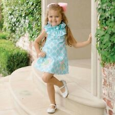 Mud Pie Little Chick Geometric Print Dress with Ruffled Collar