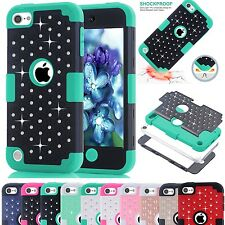 Luxury Bling Crystals Hybrid Hard Solf Impact Case Cover For iPod Touch 5 / 6