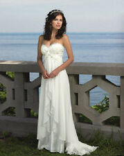 Beach wedding bride dress white & ivory chiffon wedding dress custom size color