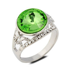 18K White Gold Plated Green Crystal Women Ring Jewelry Lady Gift CZ Rhinestone
