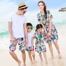 New Summer fashion Family clothes flower Bohemia Women girl dresses Men Boy sets