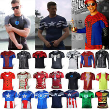 New MARVEL Superhero Short / Long Sleeve T shirt Sports Fitness Stretch Tee Tops