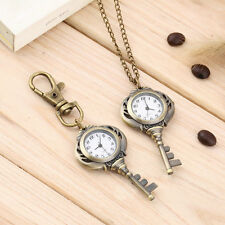 New Fashion Antique Retro Alloy Key Shaped Pendant Pocket Watch Key Chain E0