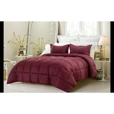 3PC REVERSIBLE SOLID EMBOSS STRIPED COMFORTER SET- OVERSIZED AND OVERFILLED WINE