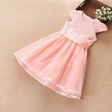 Girls Dress Pink Pearl Flower Lace Tulle Party Pageant Kids Clothing  6-12T NWT