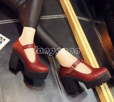 Sexy Womens Comfort Casual Platform Chunky Pumps High Heel Studded T-Strap Shoes