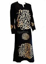 Egyptian Cotton Arabic Calligraphy Galabeya Abaya Islamic Black Jilbab Kaftan