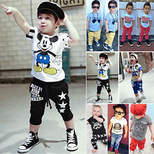 New Kids Boys Casual Short Sleeve Top + Long Pants Set Summer Outfits Clothes