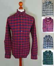 Marks and Spencer Oxford Gingham Check Slim Fit Long Sleeve Mens Shirt NEW
