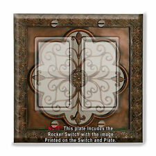 Light Switch Plate Cover Faux Finish Fleur De Lis Image w/ Rocker Switch  Outlet