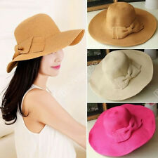 Fashion Womens Girls Straw Cap Bowknot Wide Large Brim Summer Beach Sun Hat 081