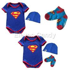 Newborn Infant Baby Boy Surperman Romper Jumpsuit Bodysuit Hat Set Socks Clothes