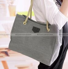 Fashion Women Simple Casual Canvas Straw Bag Beach Tote Shoulder Bag Handbag