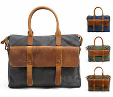 Vintage Men Canvas Leather Briefcase Cross Body Shoulder 14 Laptop Messenger Bag