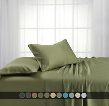 Luxury Bed Sheet Set-100% Bamboo Viscose Deep Pockets 600-TC Solid Sheet Sets